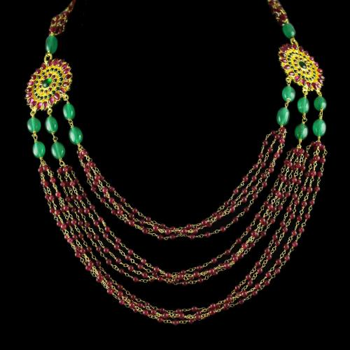 Gold Plated 3 Line Necklace Studded Red And Green Onyx Stones