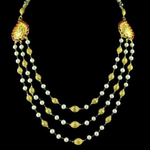 Gold Plated Red Onyx And Pearl Lakshmi Necklace