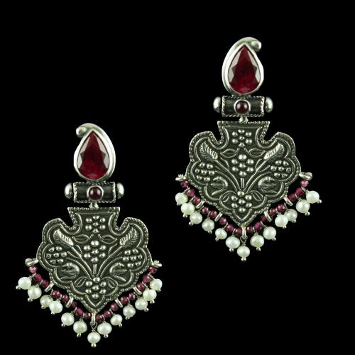 Silver Oxidized Earring Drops Studded  Ruby And Red Beads Pearls