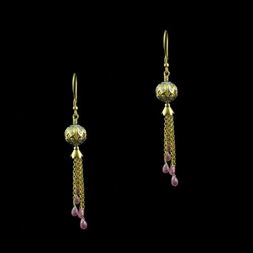 Rose Gold Hanging Earring Studded With Zircon Stone And Ruby