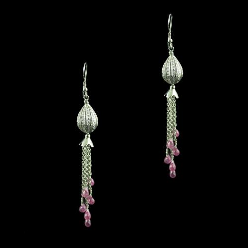 Silver Hanging Earring Studded With Zircon Stone And Ruby