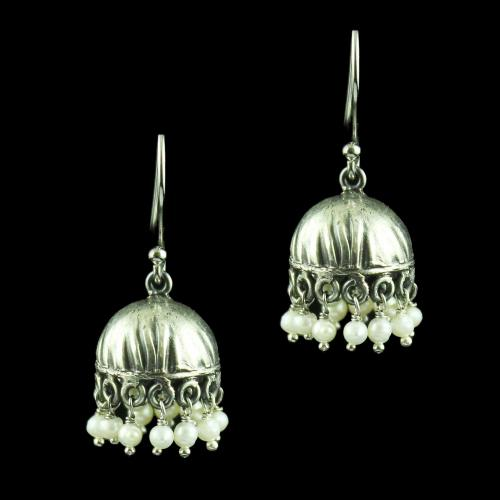 Silver Hanging Jhumka Earring With Green Onyx