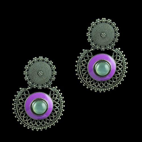 Silver Oxidize Enamel Earring Studded With Blue Onyx