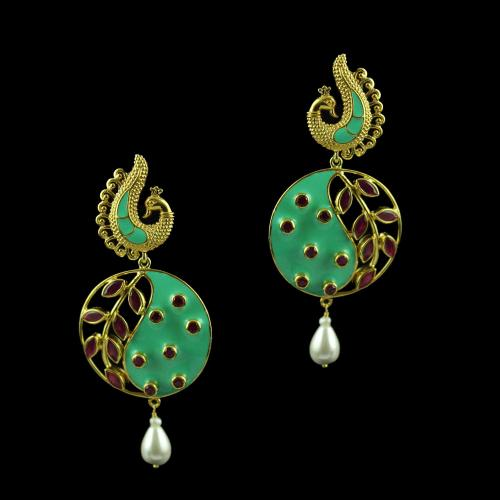 Gold Plated Drops Earring Studded With Red Onyx And  Blue Enamel