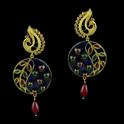 Gold Plated Enamel Earring Studded With Red And Green Onyx
