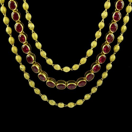Gold Plated Laxmi Necklace Studded With Pearl And red And Green Onyx
