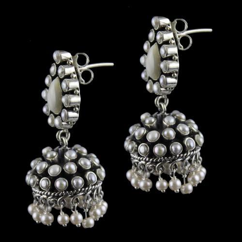 Silver Oxidized Design Jhumka Studded Pearls