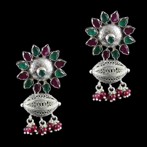 Silver Oxidized Jhumka Studded Green Onyx And Green Beads