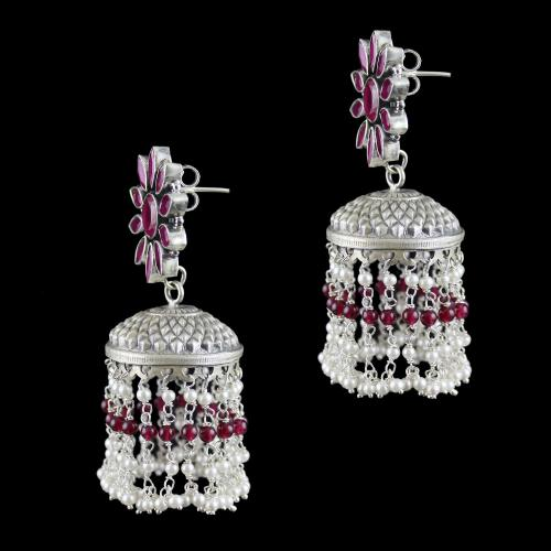 Silver Oxidized jhumka Studded Red Onyx Stones Red Beads And Pearls