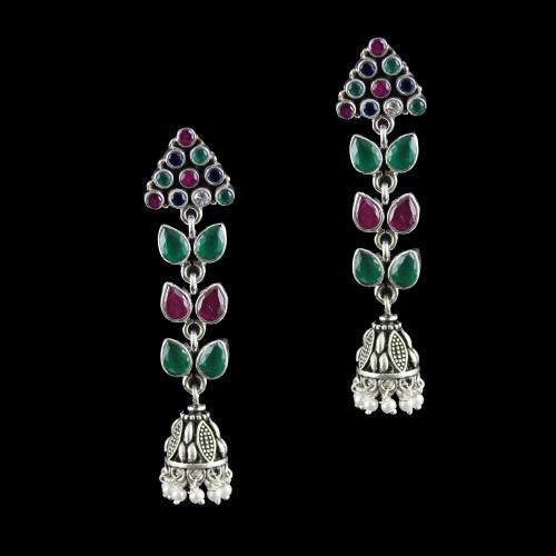 Silver Oxidized jhumka studded red and green Onyx with Pearls