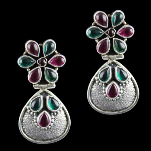Silver Earring Drops Studded red,green Onyx