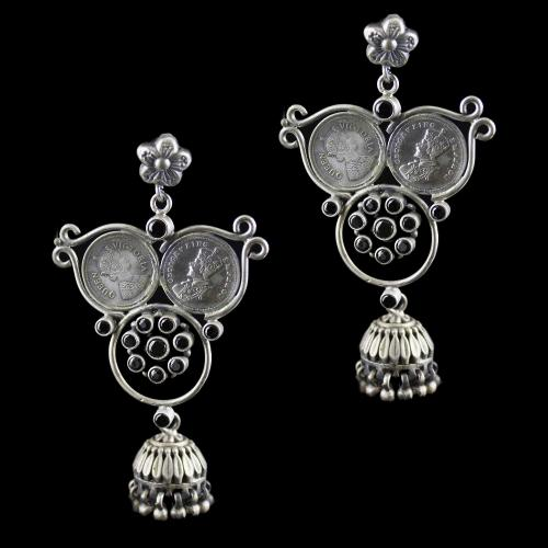 Silver Oxidized Earring Drops Studded Hematite