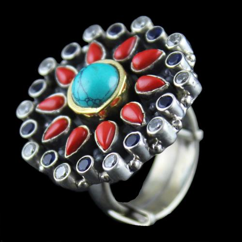 Silver  Oxidized Ring Studded Coral, Turquoise And Zircon Stones