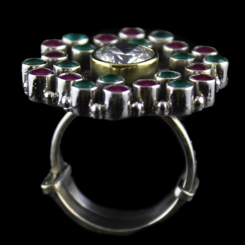 Silver Oxidized Ring Studded red, Green Onyx And Zircon