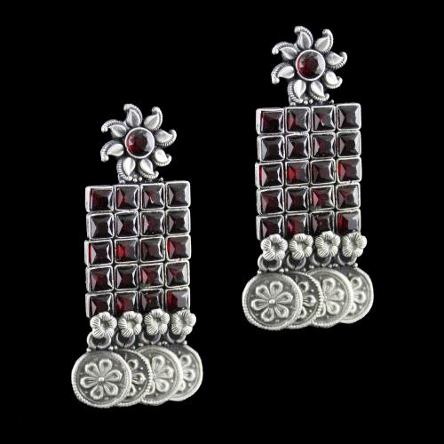 Silver Oxidized Earring Drops Red Onyx