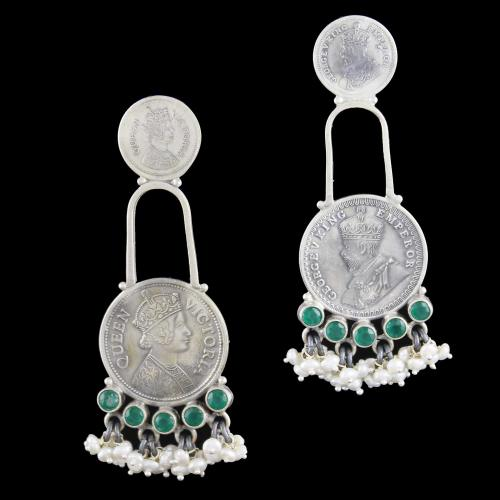 Silver Oxidized Earring Drops Studded Green Onyx And Pearl