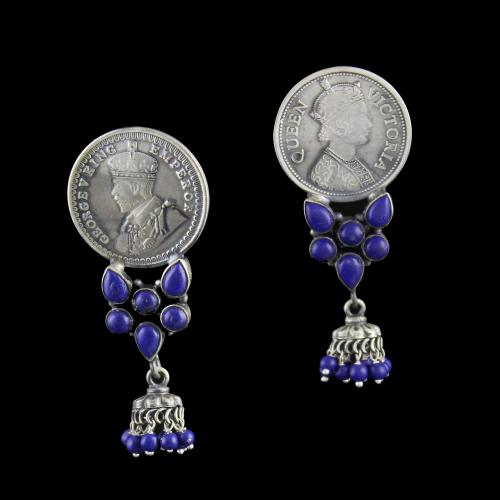 Silver Oxidized Earring Drops Studded Lapis Lazuli and Beads
