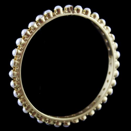 Gold Plated Pearl Bangle