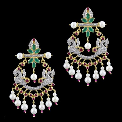 zircon  And Onyx Stones Peacock Drops Earrings Pearl