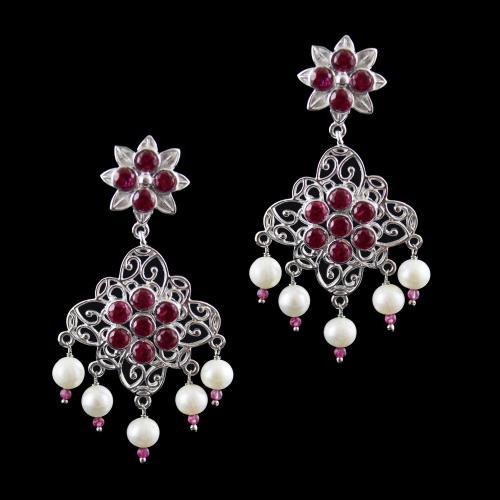 Onyx Stones Floral Drops Earrings