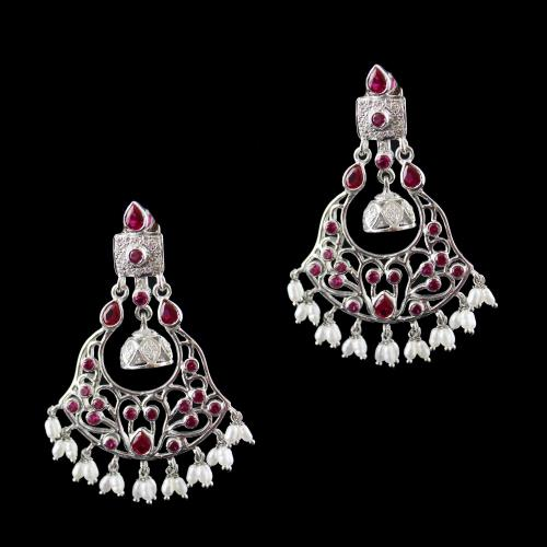 Onyx And Zircon Earring Drops With Pearl