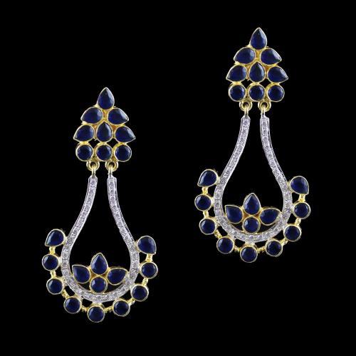 Onyx And Zircon Earring Drops
