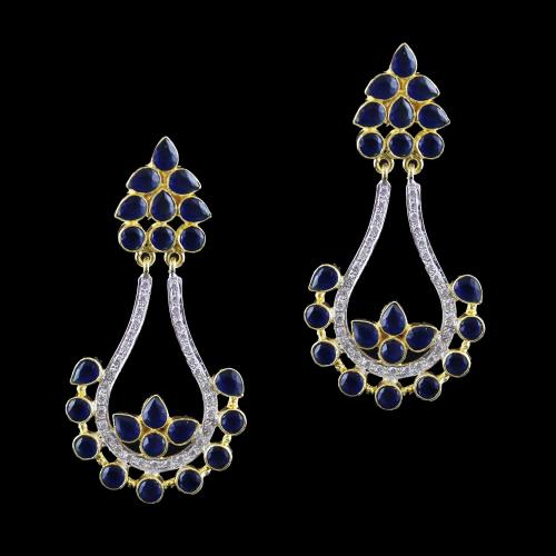 Onyx And Zircon Earring Drops