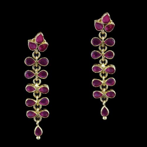 Gold Plated Drops Earring Studded With Red Onyx