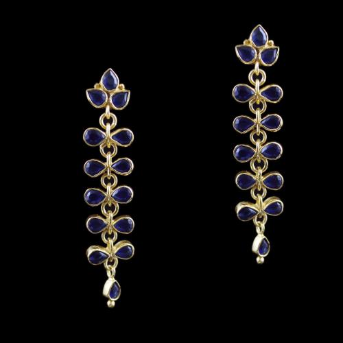 Gold Plated Drops Earring Studded With Blue Onyx