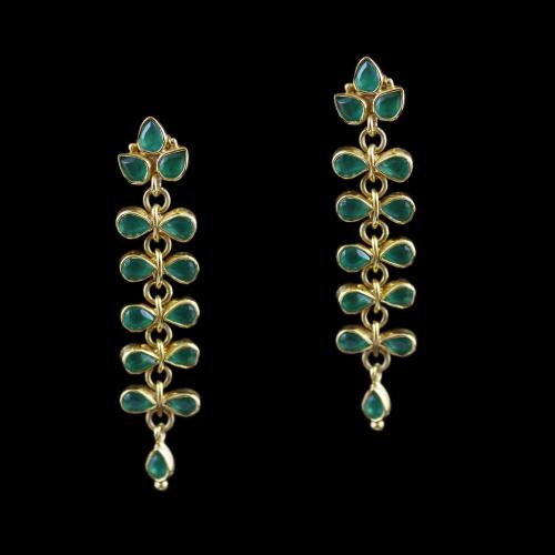 Gold Plated Drops Earring Studded With Green Onyx