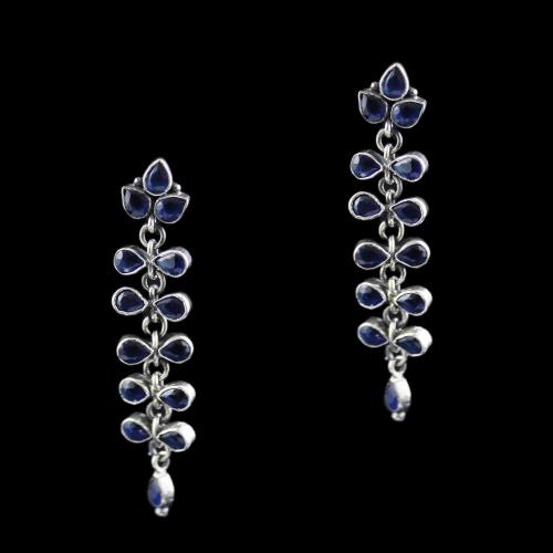 SIlver Drops Earring With Blue Onyx