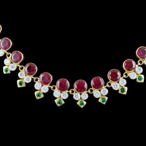Gold Plated Necklace Studded With Red Onyx And White Zircon Stone