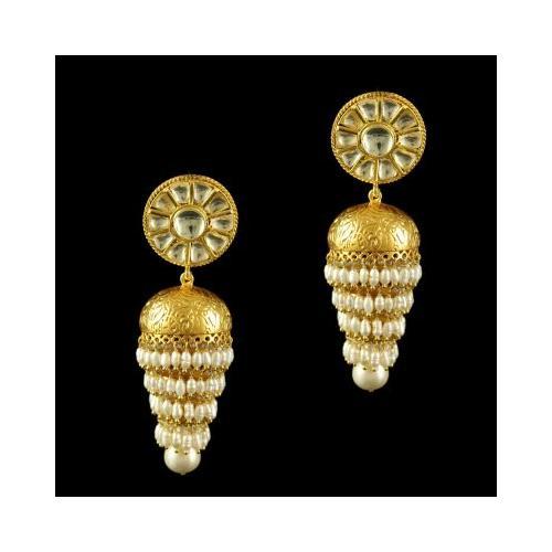 Silver Gold Plated Jumkas Kuddan Stone Rice Pearl Drop Pearl