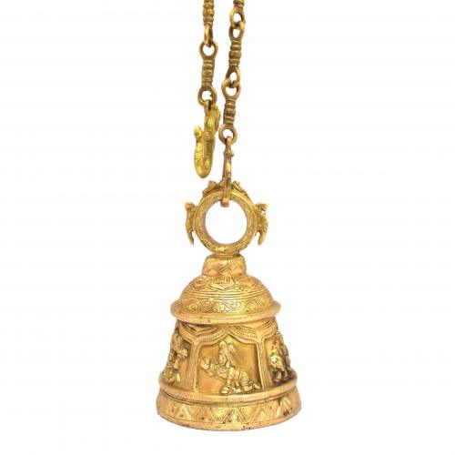 BRASS HANGING TEMPLE BELL WITH GOD AND PARROT ON TOP