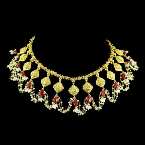 Gold Plated Lakshmi Necklace With Pearl And Red Onyx
