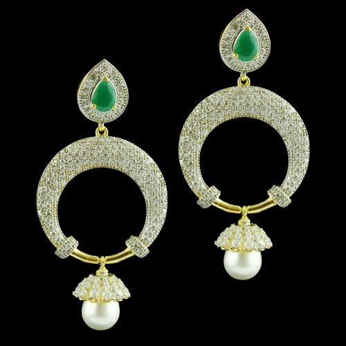 Zircon Stone Drops Earring Studded With Pearl And Green Onyx