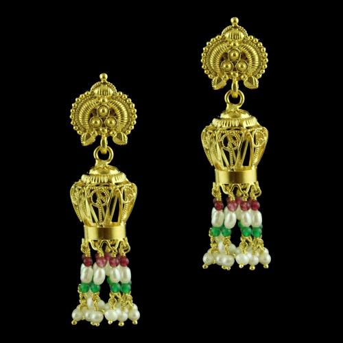 Jhumka Earring With Pearl And Onyx