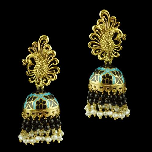 Jhumka Earring With Pearl And Black Beats