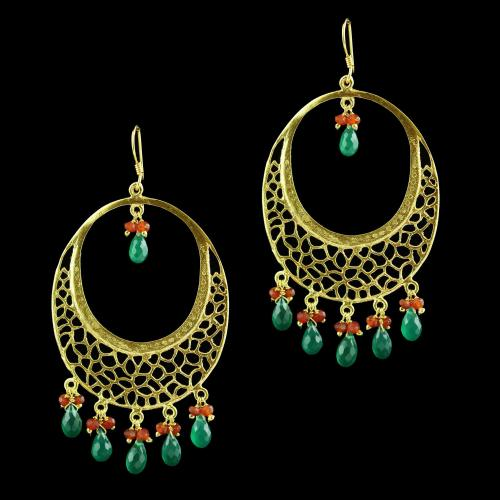 Hanging Earring With Red And Green Onyx