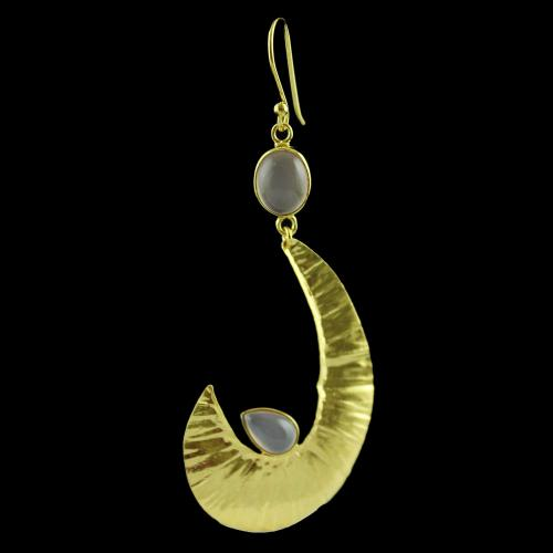 Gold Plated Hanging Earring Studded Pink Chalcedony