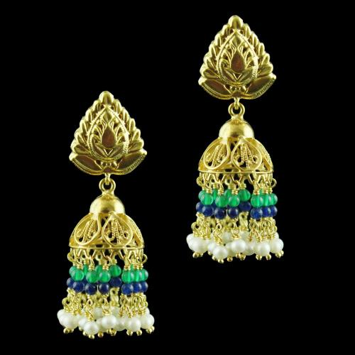 Gold Plated Jhumka Earring Studded Pearl And Green Beads