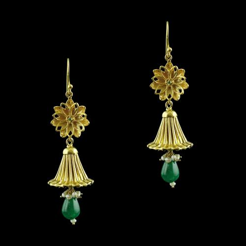 Gold Plated Floral Jhumka Earring Pearl And Green Onyx