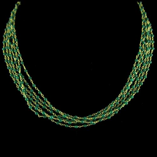 Gold Plated Bunch Chain Necklace Green Onyx