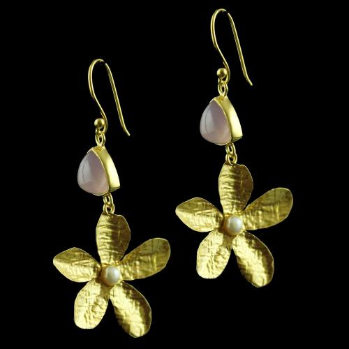 Gold Plated Hanging Earring Studded Pink Chalcedony And Pearl
