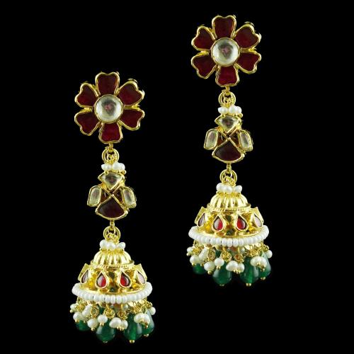 Gold Plated Jhumka Earring Studded Red,Green Onyx And Pearl