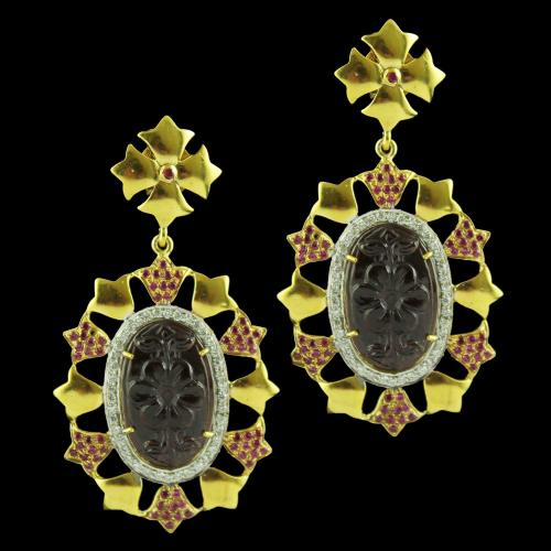 Gold Plated Floral Earring Drops Studded Garnet and Red Zircon Stone