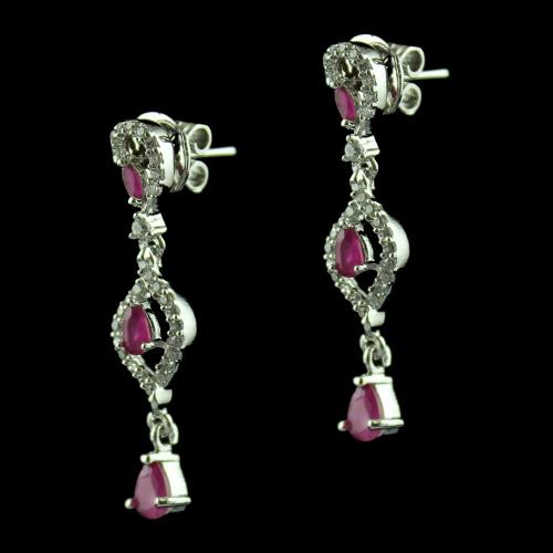 Silver Fancy Earring Studded Ruby And Zircon Stones