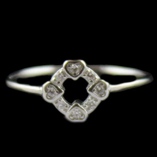 R14762 Sterling Silver Ring Studded Heart shape Zircon Stones