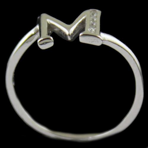 Zircon Stone M Letter Ring