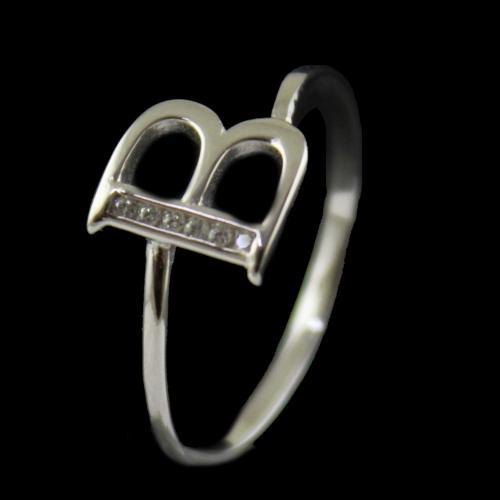 Zircon Stone B Letter Ring